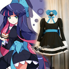 Panty & Stocking Costume Girl's Cosplay Dress Maid Apron Skirt Black + Headband
