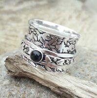 Black Onyx Stone Solid 925 Sterling Silver Spinner Ring Meditation Ring Size
