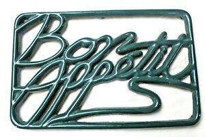 "GREEN BON APPETIT Trivet Heavy Cast Iron Enamel 7x11 by"" INVICTA RARE"