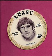 RARE 1976 CRANE POTATO CHIPS GREG LANDRY  FOOTBALL DISK MINT CARD (INV#0563)