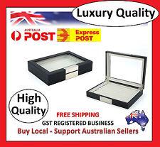 Hand Made Black Glass Luxury Case Cufflinks Ring Tie clip Storage Display Box F