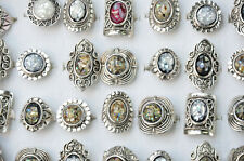 5pcs Wholesale Mixed Color Stone Tibet Silver Plated Vintage Ring Jewelry Hot