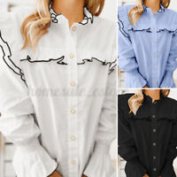 Womens Long Sleeve Ruffle Frill Blouse Casual Party Button Down Shirt Tops Plus