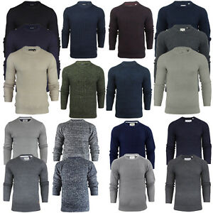 Brave Soul Mens Crew Neck Chunky Cable Knit Jumper Pullover Winter Sweater Top