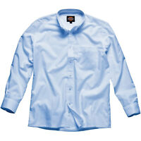 MENS DICKIES OXFORD WEAVE LONG SLEEVE WORK SHIRT BUTTON FRONT BLUE SH64200