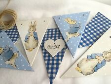 Handpainted Beatrix Potter Peter Rabbit Personalised Wooden Bunting 7 Flags