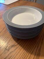 Dansk Bistro Ringsted Set of 4 Blue Rimmed Soup Salad Bowls