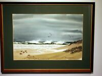original watercolor seascape signed Foster Nystrom framed ocean shore stormy