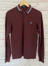Fred Perry Mens Burgundy / Maroon Polo Shirt Long Sleeve Slim Fit Small