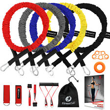 14PC Resistance Bands Set 5 Elastic Exercise Band Gym Yoga Heavy Duty Protective