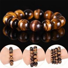 Natural Tiger Eye Stone Lucky Bless Beads Men Woman Jewelry Bracelet Bangle