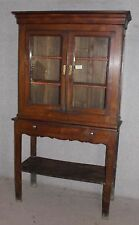 Chestnut bookcase with Glazed Top on Stand with Drawer. 1900's