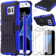 Coque Housse Armor Bequille Noir / Bleu Samsung Galaxy S7  + Stylet + 3 Films