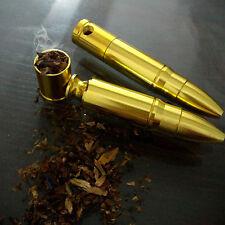 1Pc Mini Aluminum Metal Bullet Shape Smoking Pipe Cigarette Cigar Holder Gift