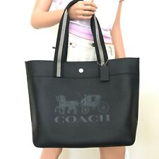 Coach 1896 Horse and Carriage Large Jes Tote Handbag Leather Black