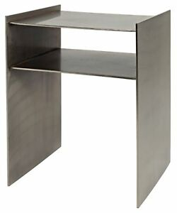 """21"""" Set of Two Side Table Night Stand Metal Antique Silver N 4302"""