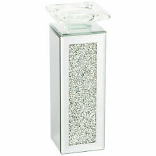 Crushed Diamond Crystal candle holder Tealight holder Clear Silver Mirror Glass