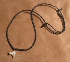 Real bobcat claw on hand-braided adjustable cord necklace