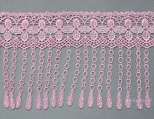 2 Yds Pretty Pink Flower Venise Lace Fringe Applique Lace Sewing DIY Trim Craft