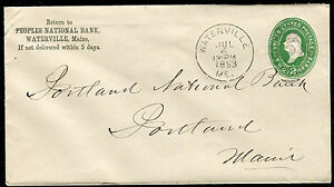 Postal Cover - WATERVILLE ME TO PORTLAND me - JUL 4 1893 NATIONAL BANK - S6408
