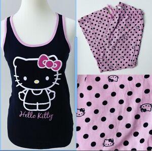 Sanrio Hello Kitty Tank Top+Pants Set Polka Dots Black Pink Large L NEW!