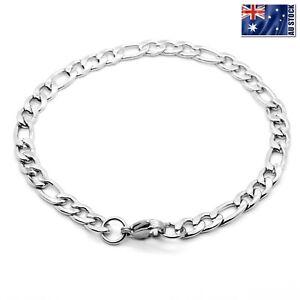 Wholesale 316L Stainless Steel Silver Curb Figaro Chain Bracelet Men's & Women's