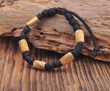 G164 A Handmade Craft Hemp Surfer Wristband Bracelet Bangle Ceramic Clay Beads