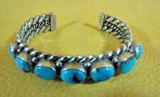 by Teme Kingman Turquoise Sterling Silver Row Cuff Heavy Bracelet Classic Navajo