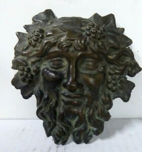 ANTIQUE CAST BRASS ROMAN HEAD FURNITURE DECORATION ORMOLU HARDWARE ARCHITECTURAL