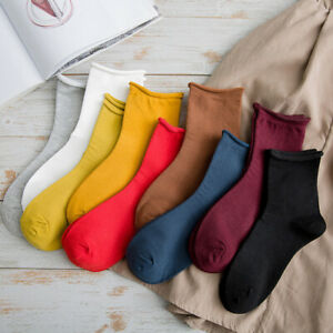 Women Chic Socks Curling Harajuku Solid Color Breathable Casual Foot Hosiery