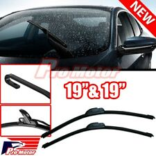 "19"" + 19"" OEM Quality Bracketless Windshield Wiper Blades J-Hook Pair All Season"