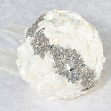 Crystal Brooch Bridal Bouquet with Off White Satin Roses Wedding Bride
