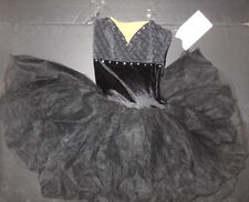 NWOT Black Velvet Short Tutu Ballet Costume Textured Bodice Ladies Small