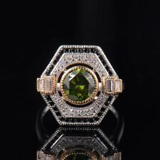 Round 7.5mm Green Tourmaline Bezel Natural Diamond Ring Solid 14K Two Tone Gold