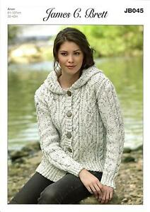 James C Brett JB045 Knitting Pattern Womens Hooded Jacket in Rustic Wool Aran