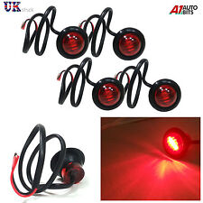 4X 12V OUTLINE ROUND SIDE MARKER 3 LED RED LIGHTS LAMPS FOR LORRY TRAILER TRUCK