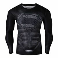 Mens long sleeve compression top gym superhero avengers marvel muscle superman