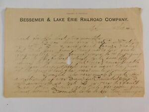Vtg 1909 Bessemer & Lake Erie Railroad Co. Railway General Freight Notification