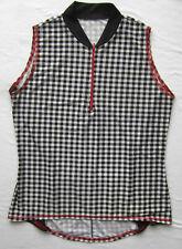 Women's Cycling Bike Jersey Black and White Check Print Sleeveles NWOT Small