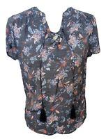 WOMEN'S Short Sleeve Boho Top Blouse Floral Lace Up Tassel Hi Lo Blue P Medium
