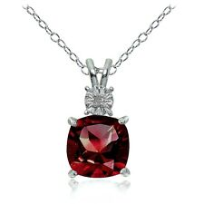 Sterling Silver Created Ruby and Diamond Accent Cushion-cut Necklace
