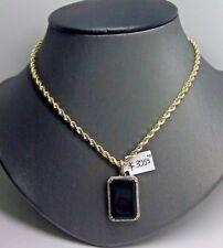 REAL 10k Yellow Gold Black onyx Pendant Charm 1/2CT Diamond & 10K Rope Chain Set