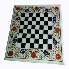 "24"" Marble Chess Table Top handmade Inlay Pietra dura Work Home Decor"