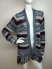 America Rag New Red Wine Multi-C Striped Fringe-Trim Cardigan Sweater Top 2X NWT