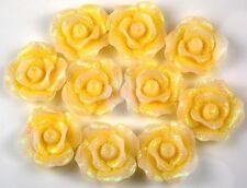 10pcs Yellow Glitter Flowers Resin Flatbacks Scrapbooking Cabochons Jewelry 20mm