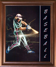 Playing Baseball Batter Swing Motivational Sports Wall Art Decor Framed Picture