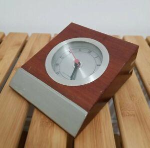 Vintage Royal Selangor MCM Wood Metal Japan Quartz Battery Powered Table Clock