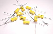10x Capacitor 0.0033uF 3.3nF 630V Polypropylene Axial Vintage Metal Film UK