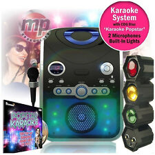 Entertainer CDG Karaoke Machine with Bluetooth & Microphones + 3 Way Disco Light