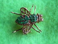 14K Solid Yellow Gold Emerald Green Fly Bug Insect Bee Brooch Pendant